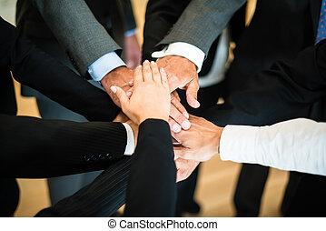 trabalho equipe, -, pilha, de, mãos