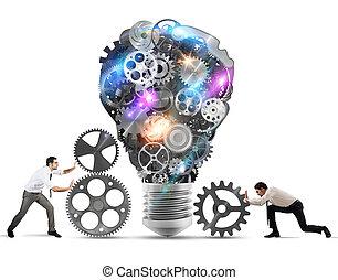 trabalho equipe, powering, um, idéia