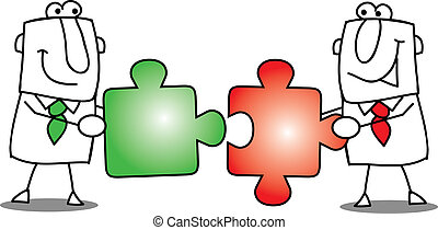 trabalho equipe, puzzles., -