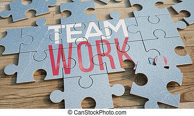 trabalho equipe, quebra-cabeça, metal