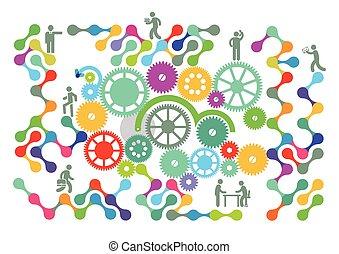 trabalho equipe, rede, ícone