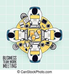 trabalho equipe, reunião, negócio