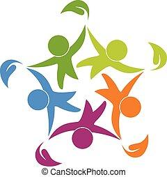 trabalho equipe, saudável, feliz, pessoas, logotipo