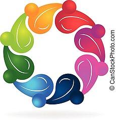 trabalho equipe, saudável, pessoas, logotipo