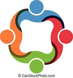 trabalho equipe, social, grupo, 4 pessoas