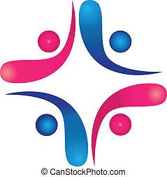 trabalho equipe, swooshes, logotipo