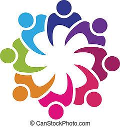 trabalho equipe, swooshes, logotipo, vetorial