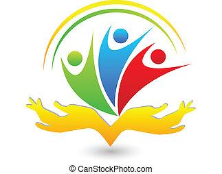 trabalho equipe, swooshes, mãos, logotipo