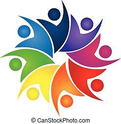 trabalho equipe, swooshes, negócio, logotipo