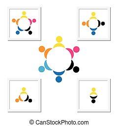 trabalho equipe, tocando, conceito, diversidade, crianças
