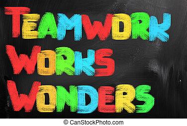 trabalho equipe, trabalhos, maravilhas, conceito