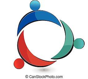 trabalho equipe, união, pessoas, logotipo