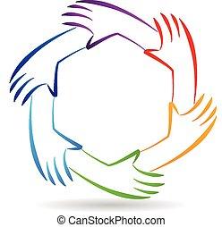 trabalho equipe, unidade, mãos, logotipo, identidade