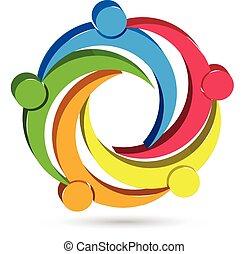 trabalho equipe, unidade, pessoas, 3d, logotipo