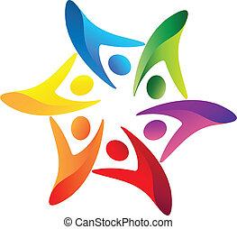 trabalho equipe, unidas, logotipo, vetorial
