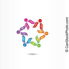 trabalho equipe, vetorial, diversidade, logotipo