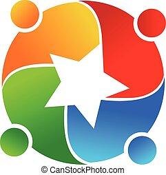 trabalho equipe, vetorial, estrela, logotipo