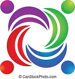 trabalho equipe, vetorial, grupo, logotipo