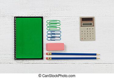 trabalho escola, organizado, desktop, materiais, branca, ou