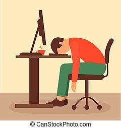 trabalho escritório, escrivaninha, trabalhador