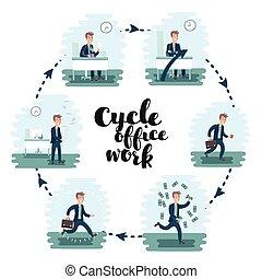 trabalho, escritório, humores, escriturário, trabalhador, caricatura, personagem, homem, ilustration, ciclo, set., diferente