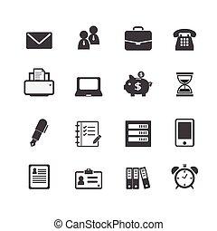 trabalho escritório, local trabalho, negócio, financeiro, ícones correia fotorreceptora