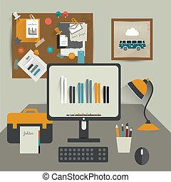 trabalho, escritório, tabela.