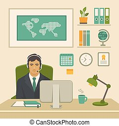 trabalho escritório, trabalhador, atrás de, computador, escrivaninha, homem