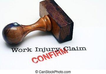 trabalho, ferimento, reivindicação, -, confirmar