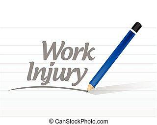 trabalho, ferimento, sinal, mensagem