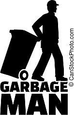 trabalho, homem, lixo, título