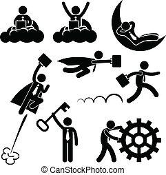 trabalho, homem negócios, conceito, negócio