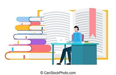 trabalho, homem, textos, pilha, laptop, estudo