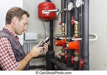 trabalho, medidas, sala, caldeira, temperatura, encanador