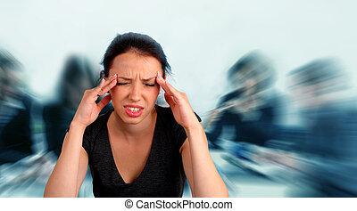 trabalho, mulher, erguer, dor de cabeça