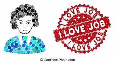 trabalho, mulher, escriturário, mosaico, selo, angústia, amor