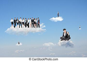 trabalho, nuvem, excelente