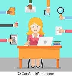 trabalho, ocupado, mulher, escritório, secretary.