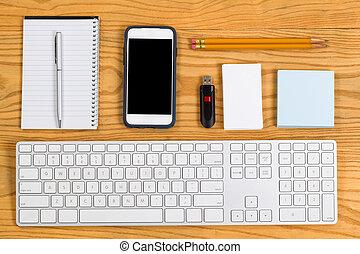 trabalho, organizado, diariamente, desktop, papelaria, ferramentas