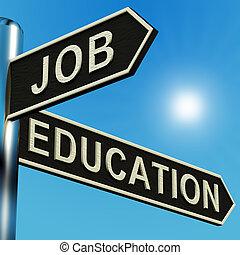 trabalho, ou, educação, direções, ligado, um, signpost