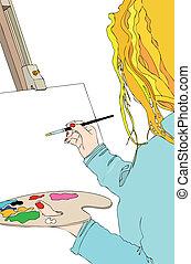 trabalho, pintor
