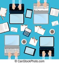 trabalho, processo, vista., quatro, laptop, copo, laptop., homem, smartphone, cofee., topo, ilustração, conceito, apartamento
