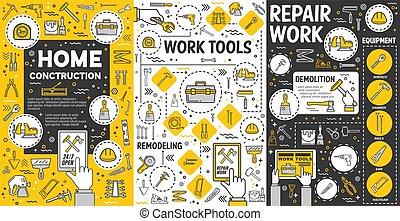 trabalho, remodelar, ferramentas, construção casa