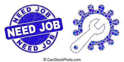trabalho, reparar, mosaico, selo, azul, ferramentas, arranhado, necessidade