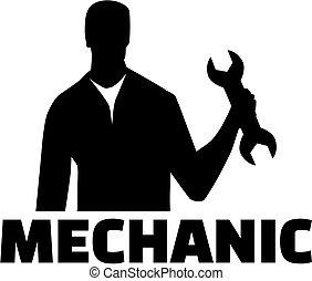 trabalho, silueta, mecânico, título