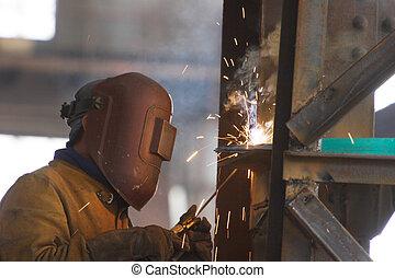 trabalho, soldador