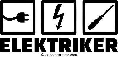 trabalho, título, alemão, eletricista, ícones