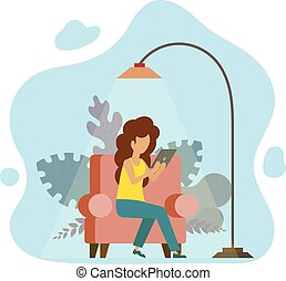 trabalho, tecnologia, tabuleta, estudo, modernos, jovem, ilustração, vetorial, freelancer., vermelho, menina, home., cadeira, dever casa