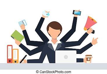 trabalho, tensão trabalho, ilustração, escritório