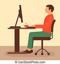 trabalho, trabalhador, escrivaninha escritório